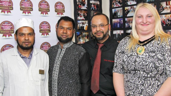Above: Muhammad, Gias and Monir Uddin with Helen Jones